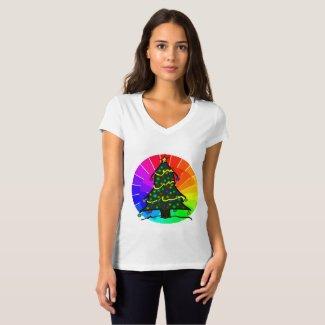 Holly Holiday Twist Christmas Tree Rainbows T-Shirt