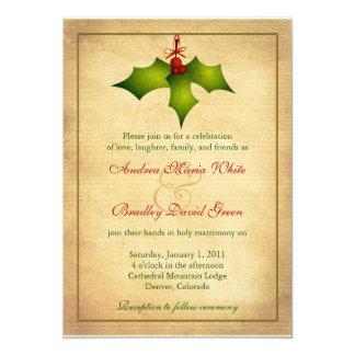 Holly Holiday Winter Wedding Invitation