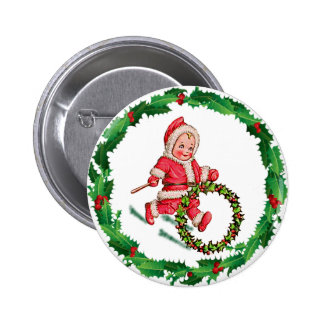 HOLLY HOOP & SANTA SUIT by SHARON SHARPE Pinback Button