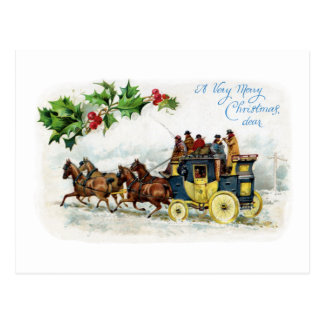 Holly, Horses and Stagecoach Post Cards
