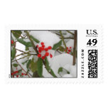 Holly in Snow Postage Stamps