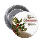 Holly in Wicker Basket Vintage Christmas Buttons