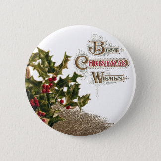 Holly in Wicker Basket Vintage Christmas Pinback Button