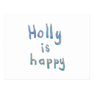 Holly is happy fun cute messy name art paintings postcard