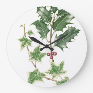 Holly & Ivy Botanical Watercolour Clock