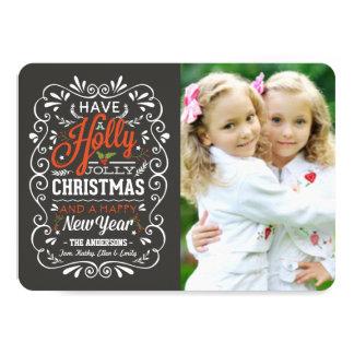 Holly Jolly Chalk Art Christmas Photo Card