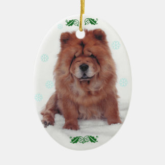 Holly Jolly Chow Christmas Ceramic Ornament