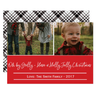 Holly Jolly Christmas Black and White Plaid Card