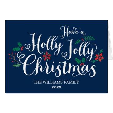 Christmas Themed Holly Jolly Christmas Card | Navy Blue