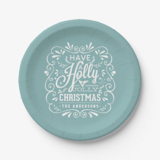 Holly Jolly Christmas Chalk Art Holiday Blue Party Paper Plate