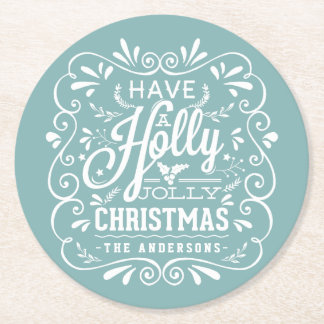 Holly Jolly Christmas Chalk Art Holiday Party Blue Round Paper Coaster