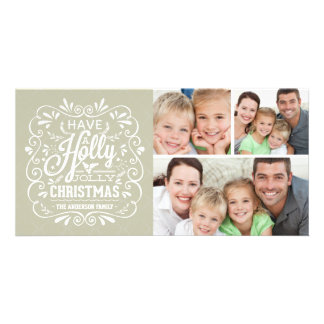 Holly Jolly Christmas Chalkboard 3-Photo Collage Card