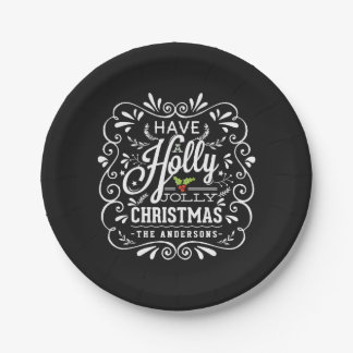 Holly Jolly Christmas Chalkboard Holiday Party 7 Inch Paper Plate