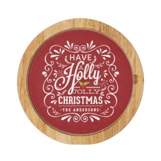 Holly Jolly Christmas Chalkboard Holiday Party Red Cheese Platter