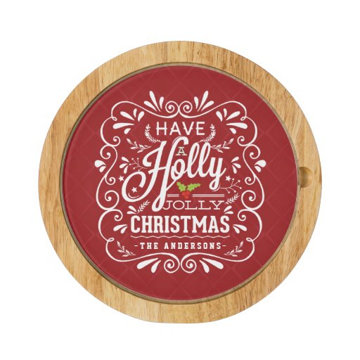 Holly Jolly Christmas Chalkboard Holiday Party Red Round Cheeseboard