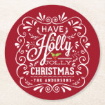 """Holly Jolly Christmas Chalkboard Holiday Party Red Round Paper Coaster<br><div class=""""desc"""">Have A Holly Jolly Christmas custom holiday party paper coasters. Festive and folksy curly chalk-art style Christmas Holiday design. Whimsical chalkboard style swirly frame with white chalk-art typography on cheerful red background and trendy retro mix of hand-lettered styles, decorated with frosty foliage and holly berries. Add your own personalized greeting...</div>"""