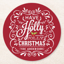 Holly Jolly Christmas Chalkboard Holiday Party Red Round Paper Coaster