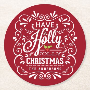Christmas Themed Holly Jolly Christmas Chalkboard Holiday Party Red Round Paper Coaster