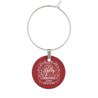 Holly Jolly Christmas Chalkboard Holiday Party Wine Charm