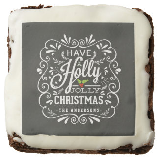 Holly Jolly Christmas Chalkboard Holiday Treats Chocolate Brownie