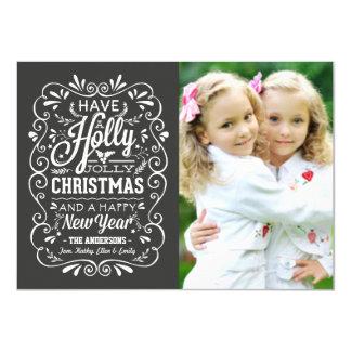 Holly Jolly Christmas Chalkboard Photo Card