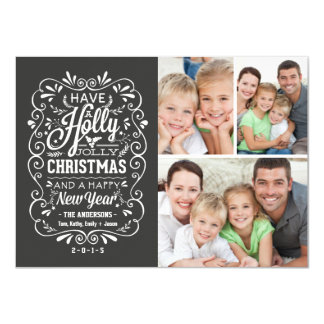 Holly Jolly Christmas Chalkboard Photo Collage 4.5x6.25 Paper Invitation Card