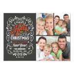 Holly Jolly Christmas Chalkboard Photo Collage 5x7 Paper Invitation Card