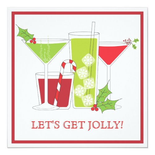 holly jolly christmas cocktail party invitation