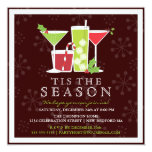 """Holly Jolly Christmas Cocktail Party Invitation 5.25"""" Square Invitation Card"""