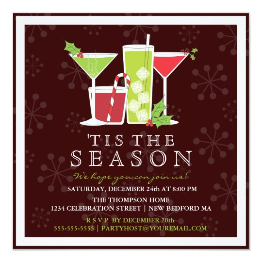 Christmas Cocktail Party Invitations.Holly Jolly Christmas Cocktail Party Invitation