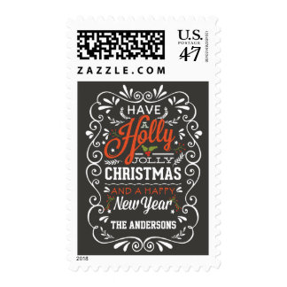 Holly Jolly Christmas Colorful Chalkboard Postage