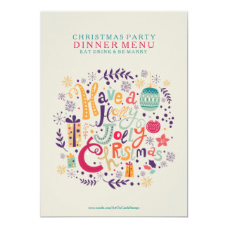 Holly Jolly Christmas Dinner Party Menu Card