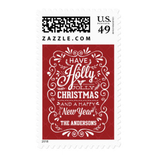 Holly Jolly Christmas Fancy Chalk Art Holiday Postage