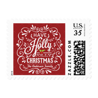 Holly Jolly Christmas Fancy Chalk Art Holiday Postage Stamps