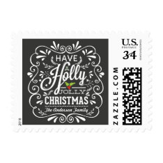 Holly Jolly Christmas Fancy Chalkboard Holiday Postage at Zazzle