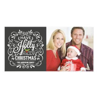 Holly Jolly Christmas Fancy Chalkboard Photo Card