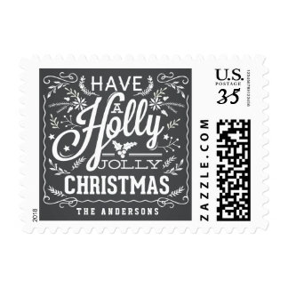 Holly Jolly Christmas Foliage Chalkboard Stamps