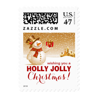 Holly Jolly Christmas Happy Snowman Postage Stamp