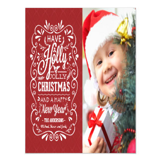 Holly Jolly Christmas Holiday Chalk Art Photo Magnetic Card