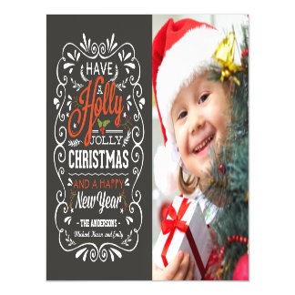 Holly Jolly Christmas Holiday Chalkboard Photo Magnetic Card