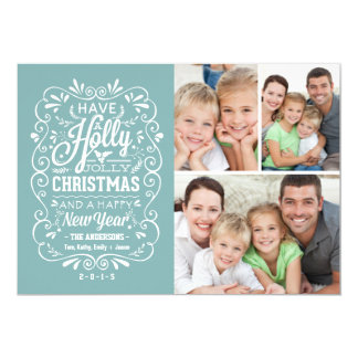 Holly Jolly Christmas Holiday Photo Collage - Blue Card