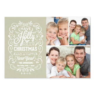 Holly Jolly Christmas Holiday Photo Collage Card