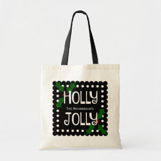 Holly Jolly Christmas Holly Personalized Tote Bag