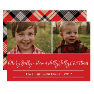 Holly Jolly Christmas Multi Plaid Card