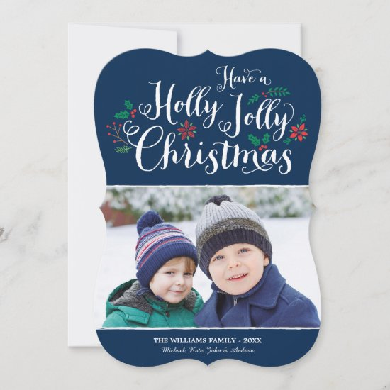 Holly Jolly Christmas | Navy Blue Photo Holiday Card