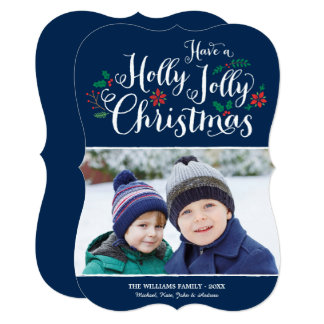 Holly Jolly Christmas | Navy Photo Card Greeting
