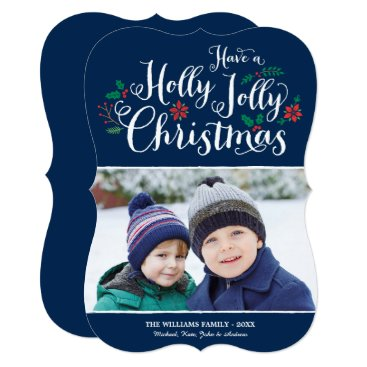 Christmas Themed Holly Jolly Christmas | Navy Photo Card Greeting