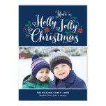 Holly Jolly Christmas | Navy Photo Card Greeting Custom Invite