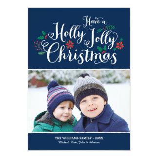 Holly Jolly Christmas   Navy Photo Card Greeting Custom Invite