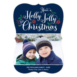 "Holly Jolly Christmas | Navy Photo Card Greeting 5"" X 7"" Invitation Card"